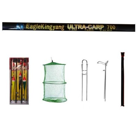 Set varga pescuit sportiv EagleKing Ultra Carp 7 metrii din 7 segmente cu accesorii