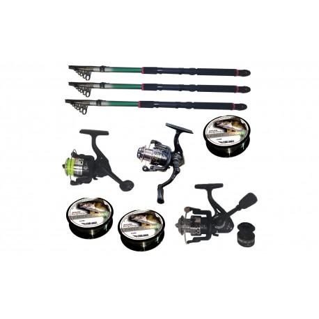 Set pescuit cu 3 lansete de 3.6m, trei mulinete si guta