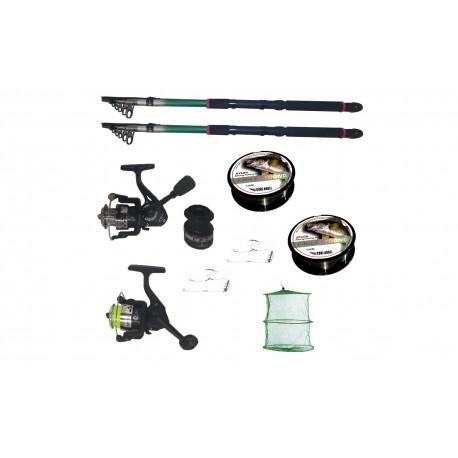 Pachet de pescuit cu 2 lansete 3,6m, doua mulinete si accesorii