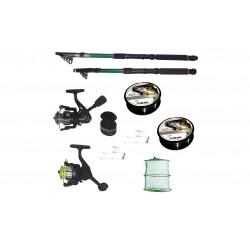 Pachet de pescuit cu 2 lansete 2,4m si 3,6m, doua mulinete si accesorii