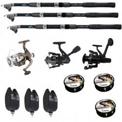 Set pescuit sportiv cu lanseta Wind Blade de 2.7 m, 3 mulinete, 3 senzori si 3 gute