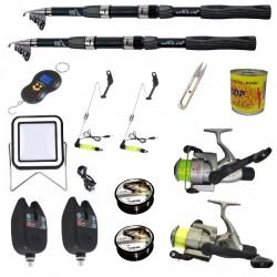 Set complet de pescuit sportiv cu lanseta Wind Blade de 2.4 m, mulinete Cobra, 2 senzori, guta, cantar electronic accesorii