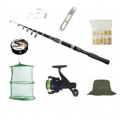 Set complet de pescuit cu lanseta Wind Blade de 2,4 m, mulineta DPR200, juvelnic, guta, accesorii