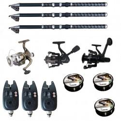 Set pescuit sportiv cu lansete de 3.6 m UltraCarp, eagle, 3 mulinete, 3 senzori si 3 gute