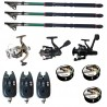 Set pescuit sportiv cu 3 lansete de 3 m Gold Shark, 3 mulinete, 3 senzori si 3 gute