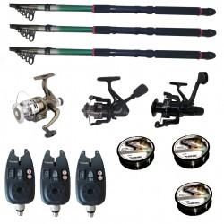 Set pescuit sportiv cu 3 lansete de 2.7 m Gold Shark, 3 mulinete, 3 senzori si 3 gute