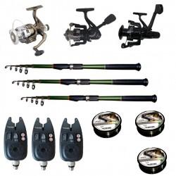 Set pescuit sportiv cu 3 lansete de 2,7 m Cool Angel, 3 mulinete, 3 senzori si 3 gute