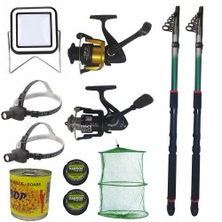Pachet de pescuit cu 2 lansete eastshark 3m, doua mulinete si accesorii
