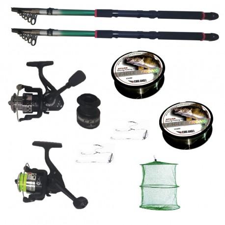 Pachet de pescuit cu 2 lansete 2,4m doua mulinete si accesorii