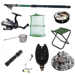 Set lanseta pescuit telescopica 3.6m, mulineta QFC1000 pentru Pescuit Sportiv si accesorii