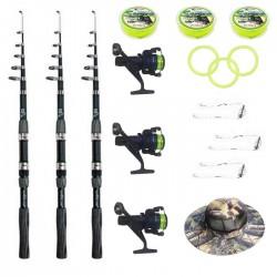 Set pescuit sportiv complet cu 3 lansete Wind Blade